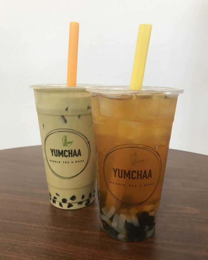 Matcha milk tea and Peach fruit tea from Yumchaa