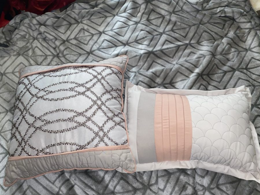 Two of the pillows Odol has sewn since March.