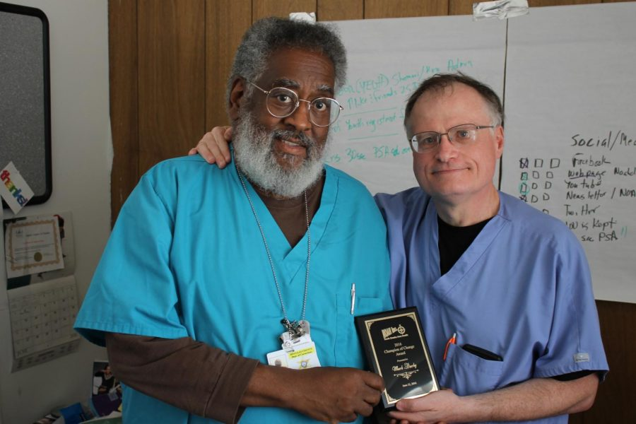 NOAH director and founder Ira Combs (left) with Clinic Director Mark Darby (right) in 2016. Photo courtesy of Mark Darby.